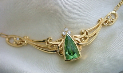 12.8 ct sea foam green tourmaline necklace with diamonds in gold art nouveau