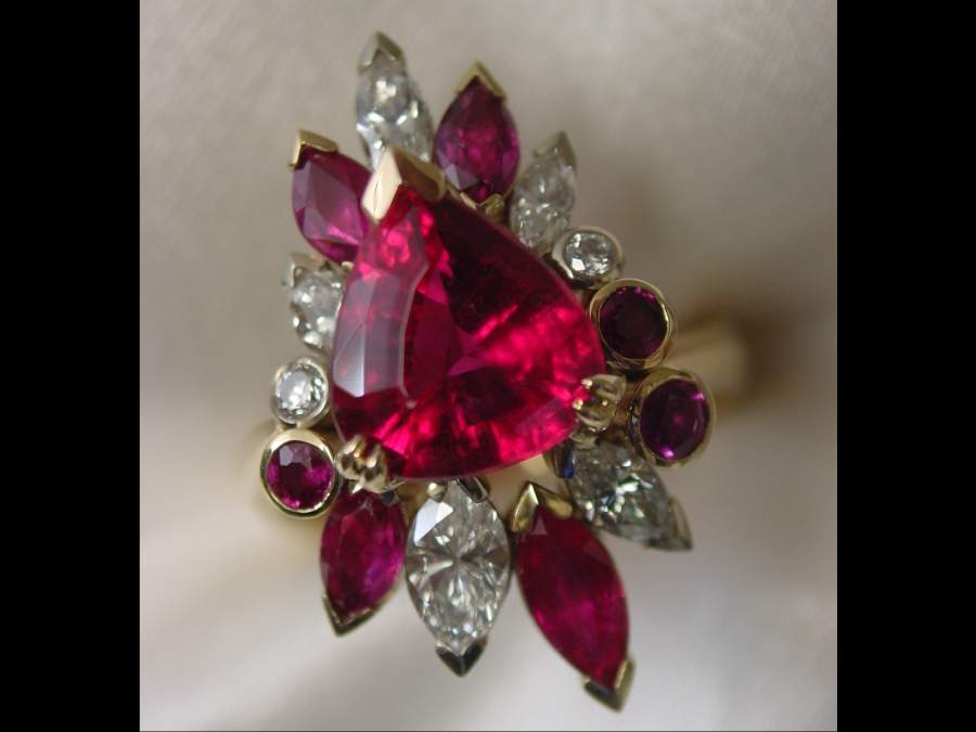 ruby red custom diamond gold ring